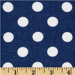 Rayon Challis Medium Dots Navy/White