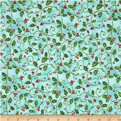 Santa's Here Holly Print Aqua
