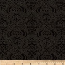 Moda Forest Fancy Autumn Damask Midnight Black