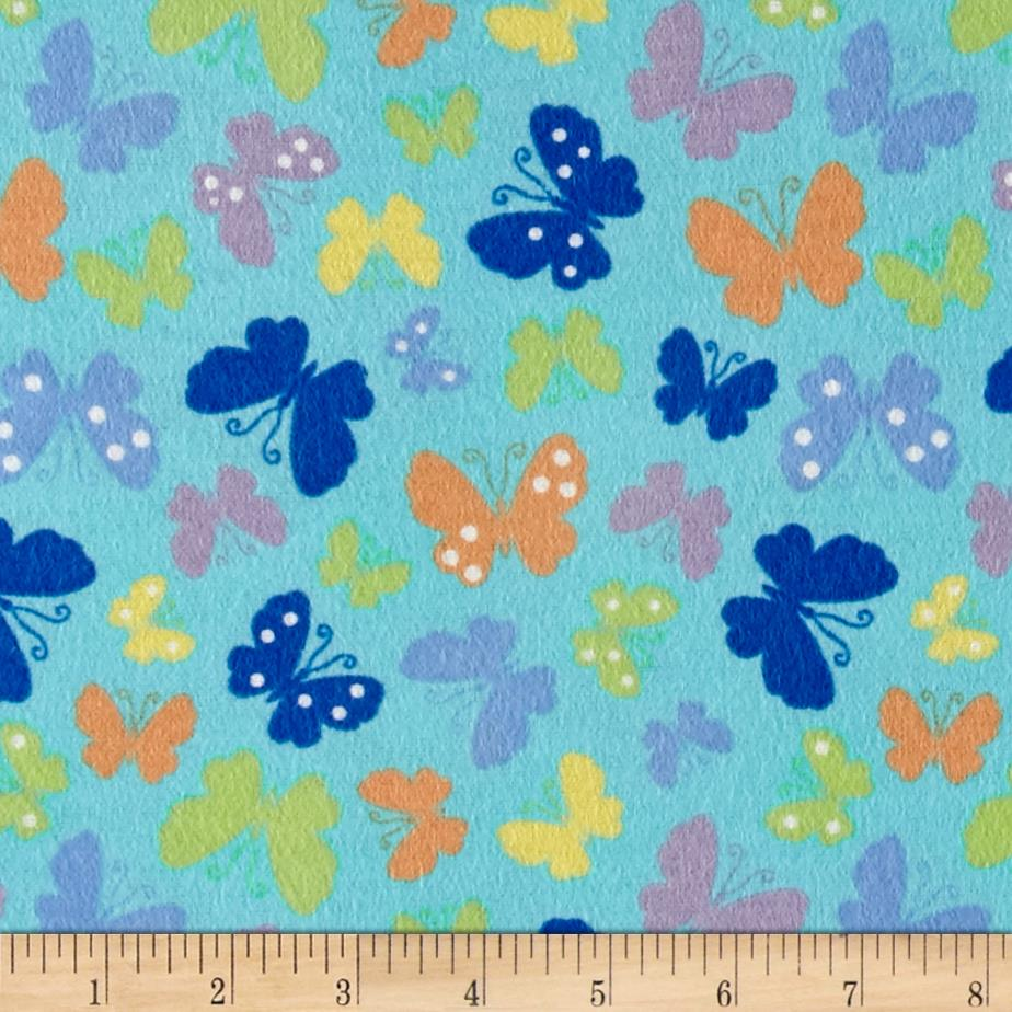 Pretty Wings Flannel Turquoise Fabric By The Yard