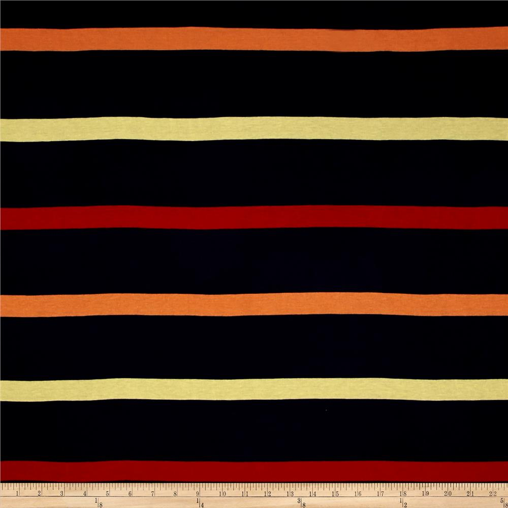 Jersey Knit Stripe Navy/Orange