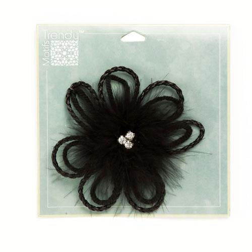 Jeweled Marabou Daisy Brooch 4'' Black