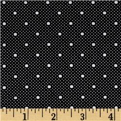 Telio Morocco Blues Stretch Cotton Shirting Dot Print Black/White
