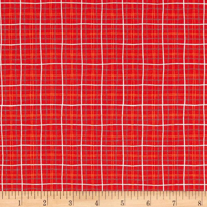 Michael Miller Lunch Box Plaid Red