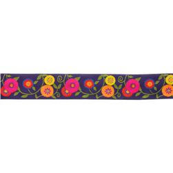 1 1/2'' Ribbon Suzani Flower Indigo