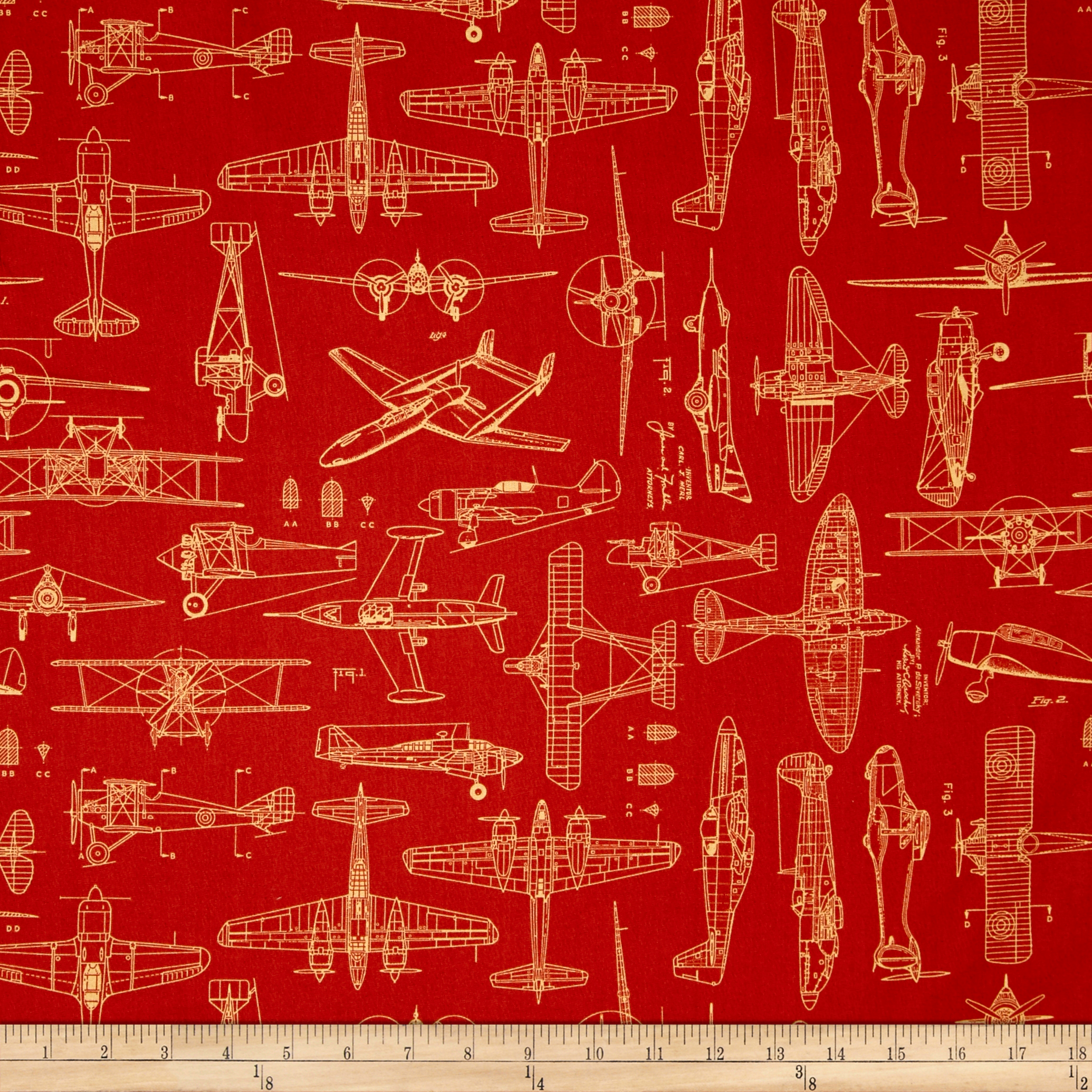 Aviator Plane Blueprints Ketchup Fabric By Quilting