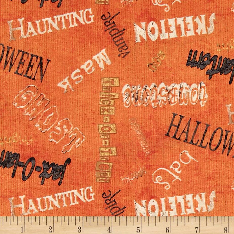 Spooky Spectacular Tossed Words Orange