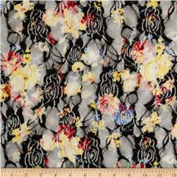 Printed Lace Spring Floral Black/Yellow/Blue