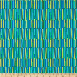 Crazy Daisy Rhythm Blue Fabric