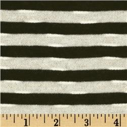Designer Sweater Knit Yarn Dyed Stripe Cream/Black