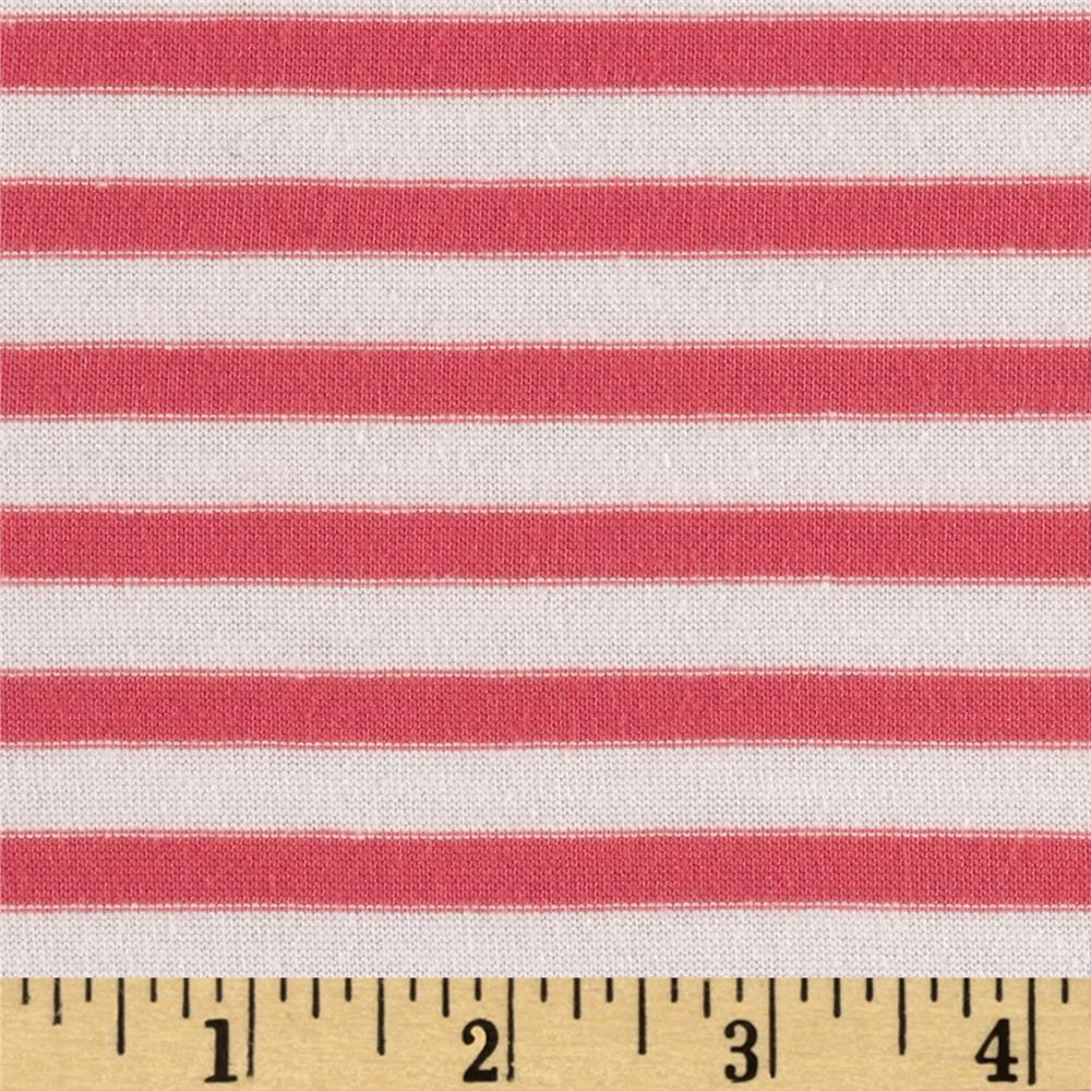 Cotton Poly Yarn Dyed Jersey Knit Stripes Coral/Cream