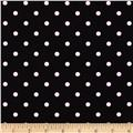 Stretch Poplin Dots Black/Pastel Pink
