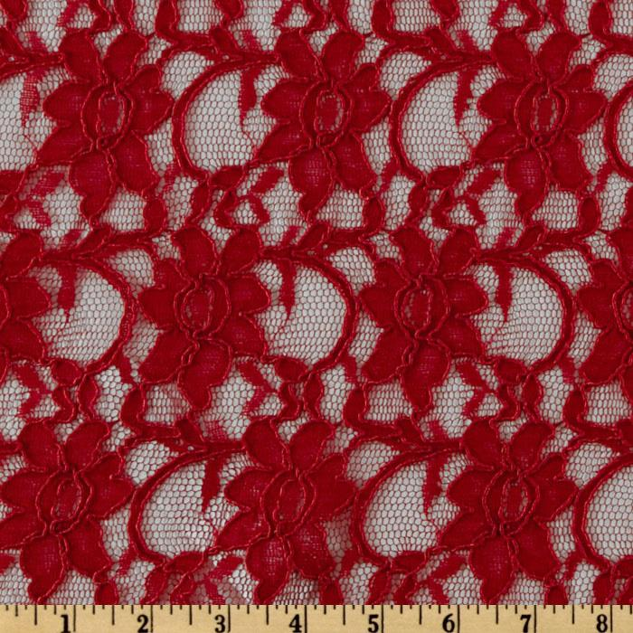 Xanna Floral Lace Fabric Crimson