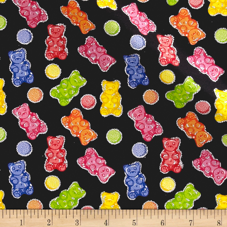 Glitter Gummy Bears Black Fabric by Fabric Traditions in USA