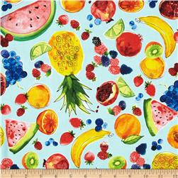 Metro Market Fruits Aqua Fabric