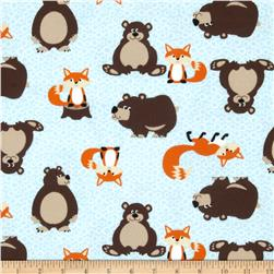 Into the Woods Flannel Tossed Fox & Bear Blue