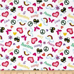 John Deere Pink Tossed Peace Love & Tractors Multi