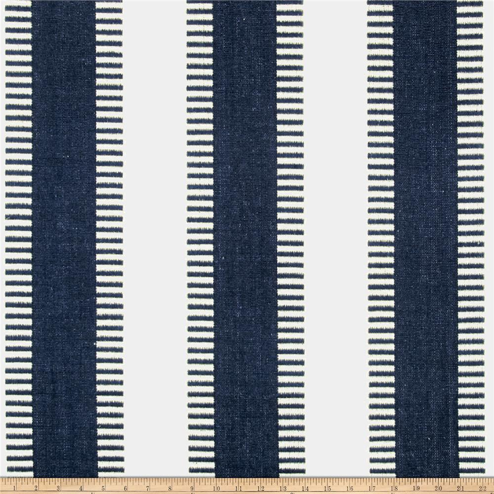 Laura & Kiran New Ladder Stripe Canvas Navy/White Fabric