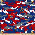 Univeristy of Kansas Cotton Camouflage Red/Royal