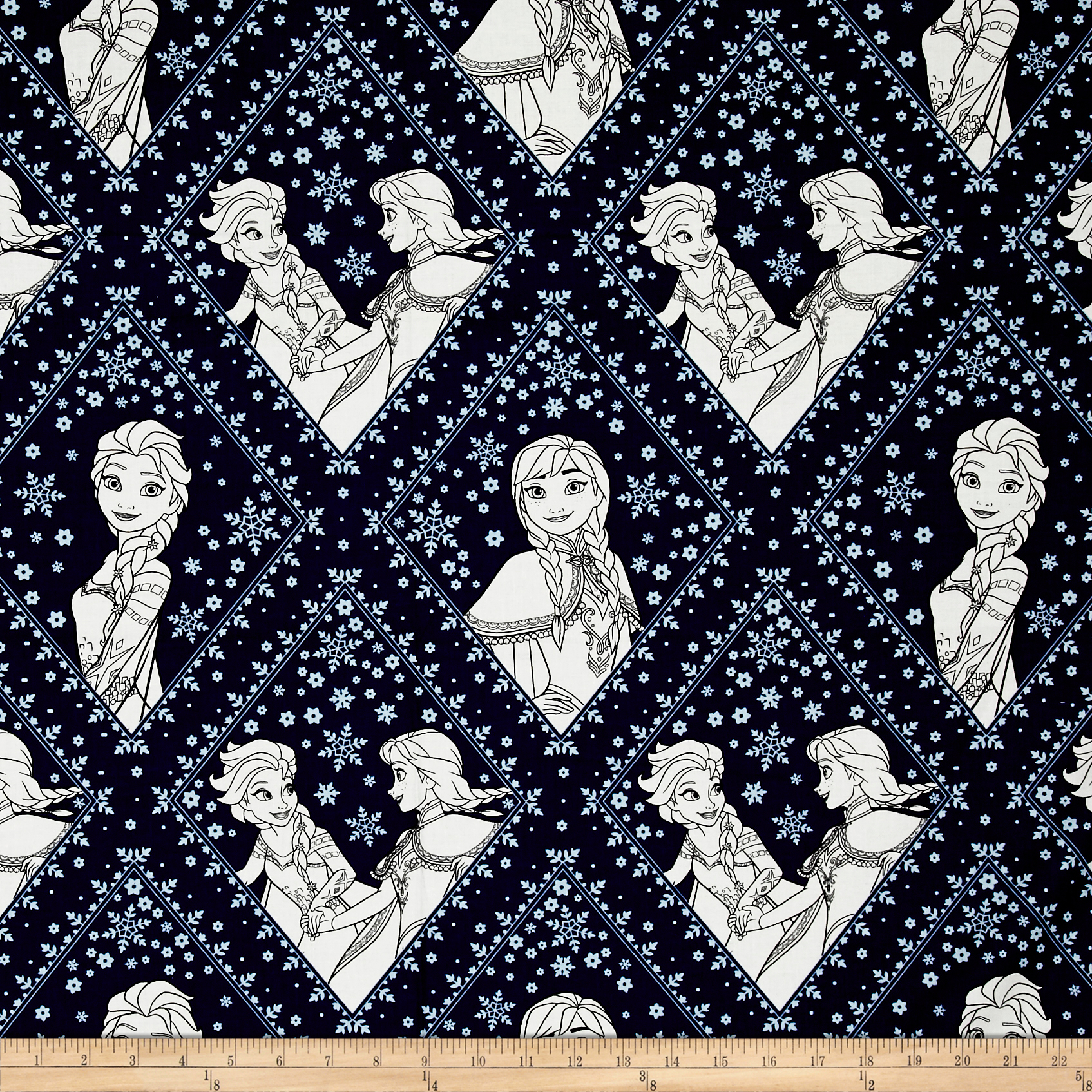 Disney Frozen Sisters in Damask Navy Fabric by Eugene in USA