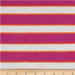 Designer Stretch Rayon Tissue Jersey Knit Stripes Orange/Pink