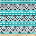 Spandex ITY Jersey Knit Tribal Chevron Turquoise/Black/Cream