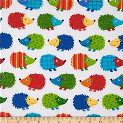 Timeless Treasures Hedgehogs White Fabric