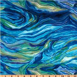North American Wildlife Abstract Ocean Fabric