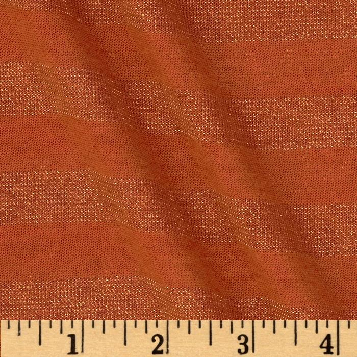 Tissue Metallic Jersey Knit Stripe Orange