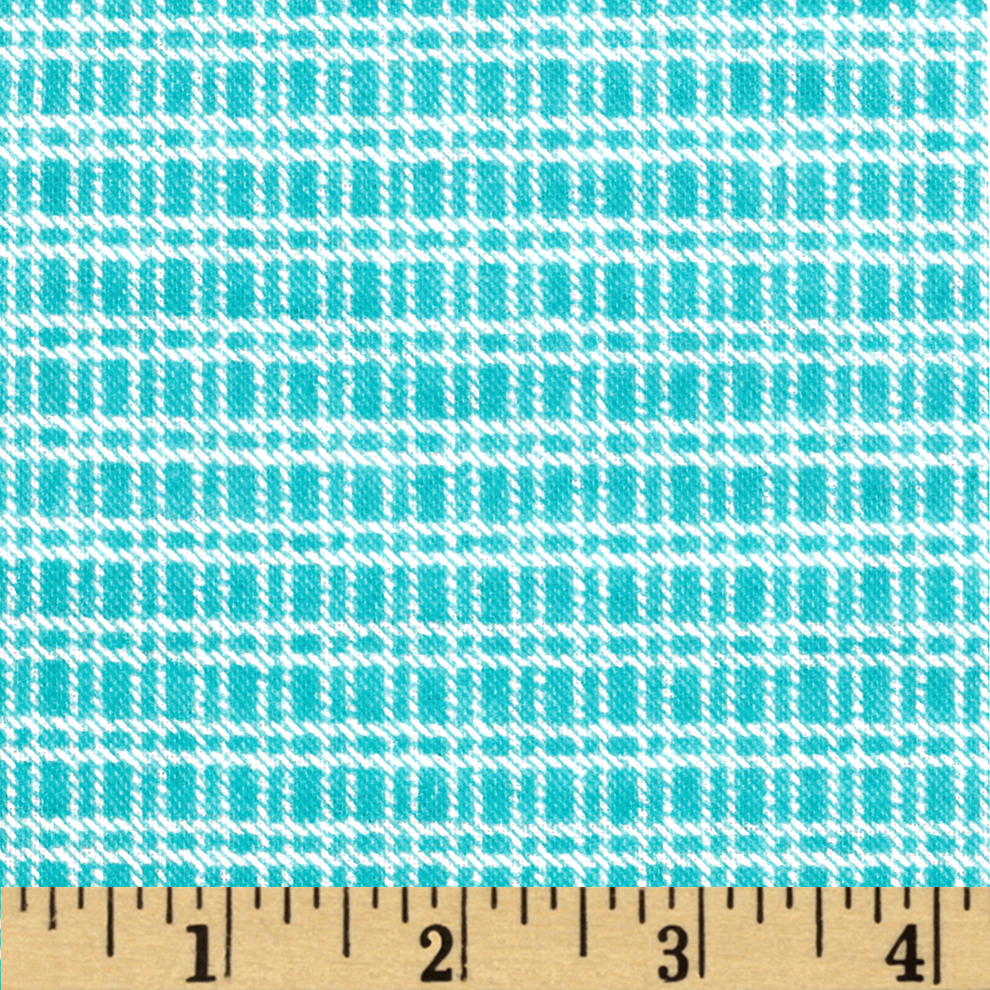 Aunt Polly's Flannel Medium Checkered Aqua/White Fabric