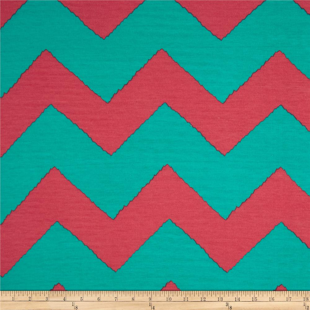 Fashionista Jersey Knit Large Chevron Pink/Teal