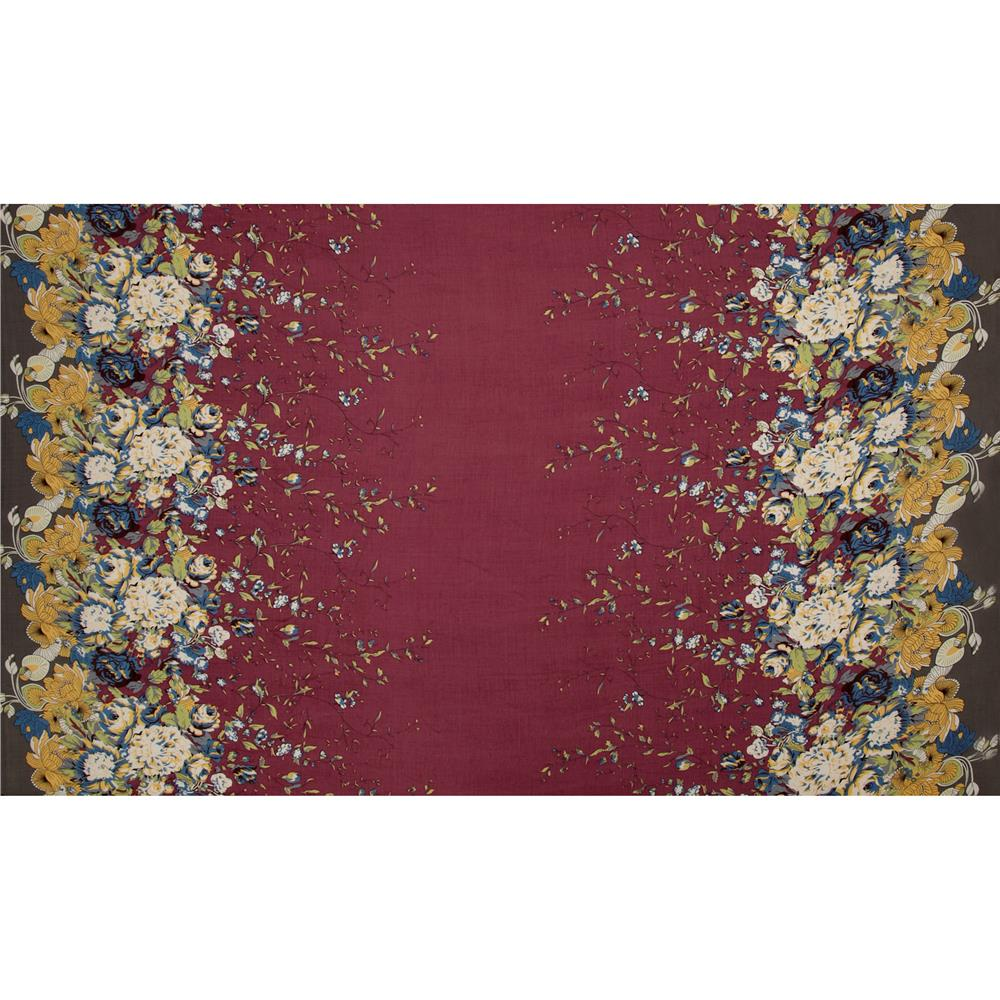 Designer Rayon Shirting Floral Border Burgundy/Blue