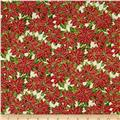 Season's Greetings Poinsettias Cream