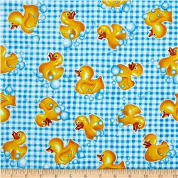 Tub Time Little Duck Gingham Blue