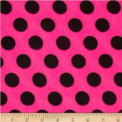 Stretch Jersey Knit Polka Dots Fuchsia/Black Fabric