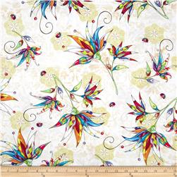 Flower Fantasy Large Floral Cream Fabric