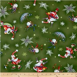More Merriment Flying Santa/Snowmen Green