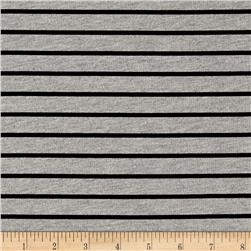 French Terry Knit Black Stripes on Grey