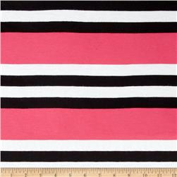 Yarn Dyed Jersey Knit Stripe Hot Pink/Black/White