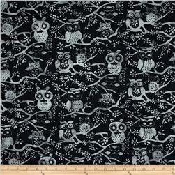 Bali Batiks Handpaints Owls Pewter