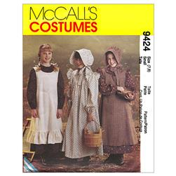 McCall's Girls' Pioneer Costumes Pattern M9424 Size LRG