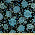 Timeless Treasures Dynasty Metallic Medallion Floral Black