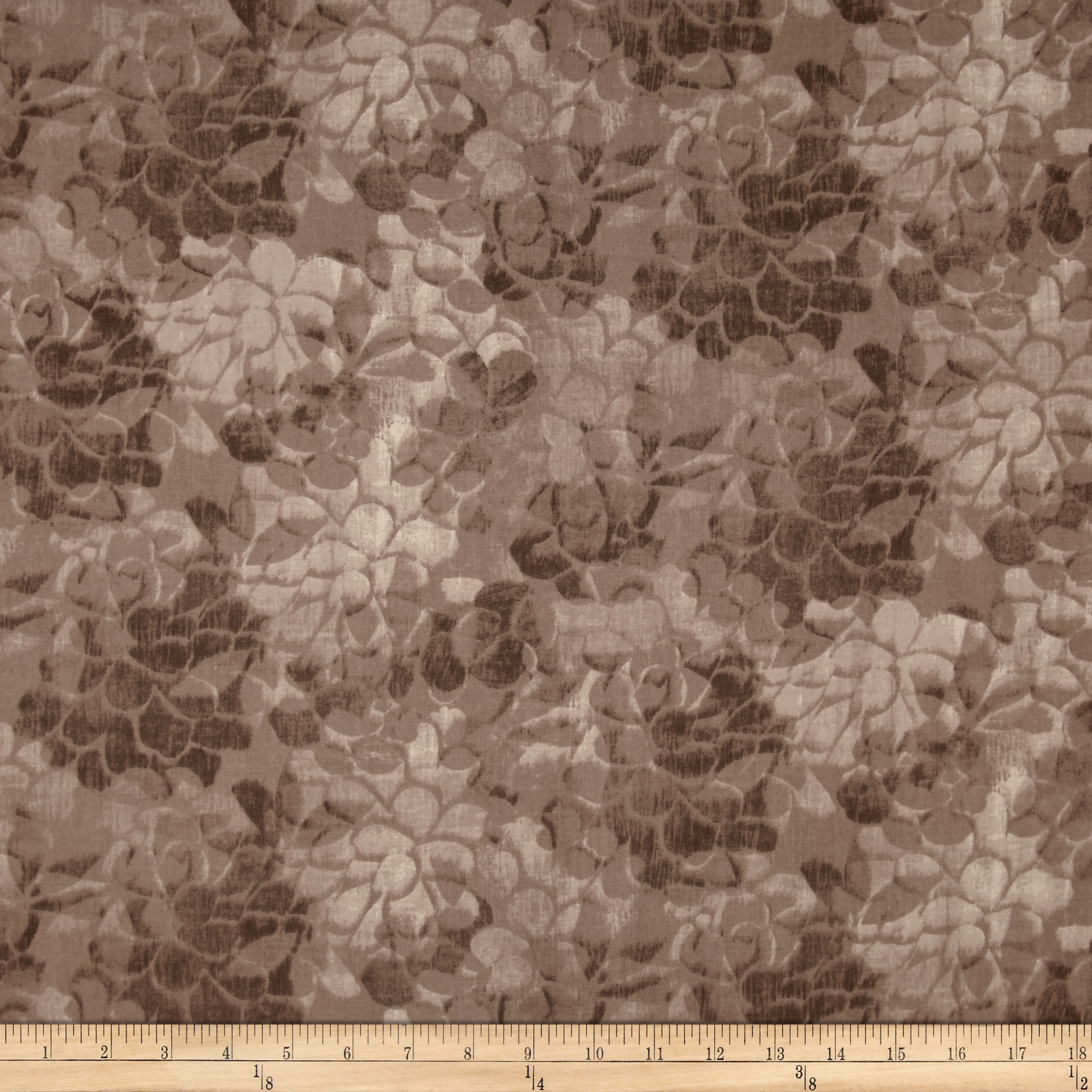 108'' Wide Charisse Quilt Back Tonal Floral Mocha Fabric by Stardom Specialty in USA