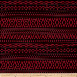 Pique Double Knit Geometric Black/Red Rose