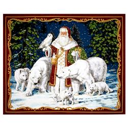 "All Is Calm Metallic Arctic Santa 35.5"" Panel Red"