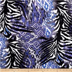 Silky Stretch ITY Jersey Knit Zebra Mix Purple/Black
