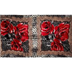 Charmeuse Satin Abstract Red Rose on Black/Brown