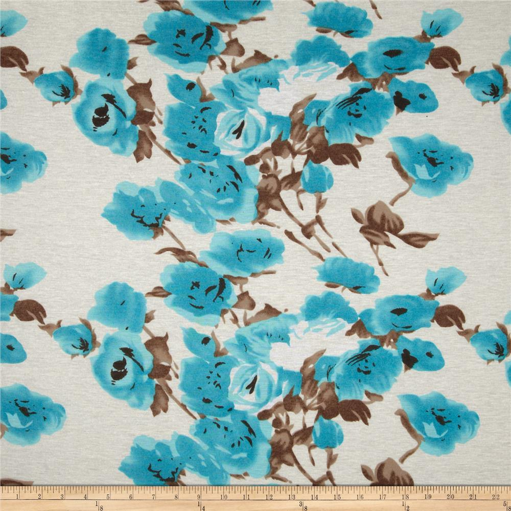 Stretch Jersey Knit Floral Turquoise/Brown/Beige