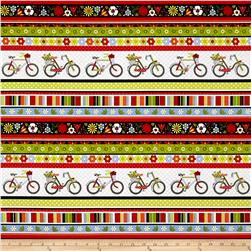 Bicycles & Blooms Stained Glass Floral Black/Multi