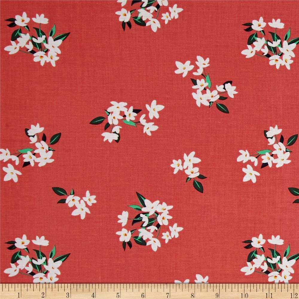 Michael Miller Bed of Roses Lily-Of-The-Valley Coral Fabric By The Yard